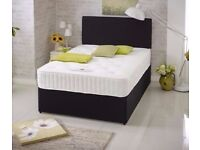 Double Black Suede Divan Bed & Mattress With Free Headboard FREE NATIONWIDE DELIVERY