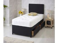 Fast Delivery Single BED TWO Drawers 25cm MATTRESS & HEADBOARD Factory Direct Black Cream Grey