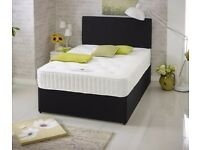 Suede Divan Bed & Dual Mattress With Free Plain Headboard FREE DELIVERY