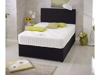 Black Suede Divan Bed & Mattress With Free Headboard FREE NATIONWIDE DELIVERY (Colour Choice)