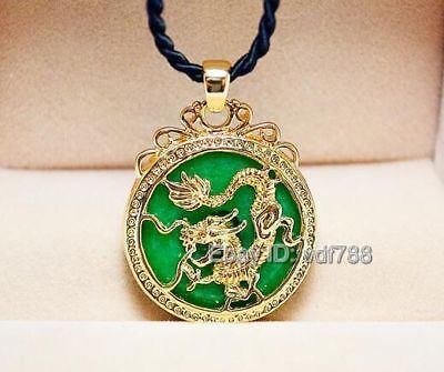 Beautiful Green Jade Inlay Gold Carved Dragon Lucky Pendant + Rope Necklace Dragon Green Jade Necklace