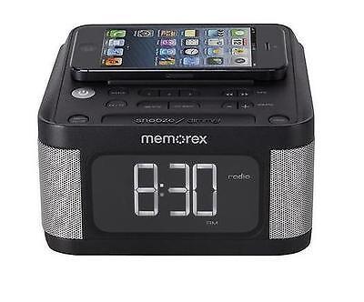 memorex fm radio stereo alarm clock aux mc8431 2 usb charging iphone 5 6 android. Black Bedroom Furniture Sets. Home Design Ideas