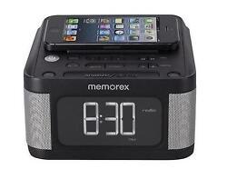 Memorex FM Radio Stereo Alarm Clock AUX MC8431 2 USB Charging iphone 5,6 Android