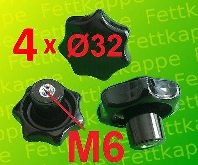 4 x Sterngriffmutter M6 - Griff Ø 32mm - Sternmutter Feststellmutter Sterngriff
