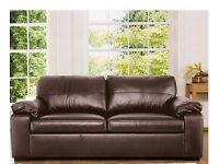 Brown leather sofa bed - great condition