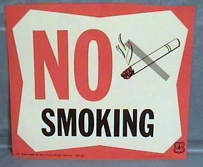 1971 COLORFUL Old Forest Service Sign NO SMOKING NOS