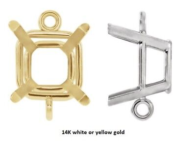 14k Gold Double Loop (4mm - 8mm Square14K Gold Double Loop 4-Prong Intermediate Dangle)