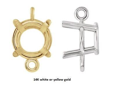 14k Gold Double Loop (4mm - 8mm Round 14K Gold Double Loop 4-Prong Intermediate Dangle)