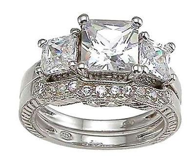 Princess Cut Pave Set - 4.75 Ct Sterling Silver Princess Cut 3 Stone Pave Wedding Engagement Ring Set