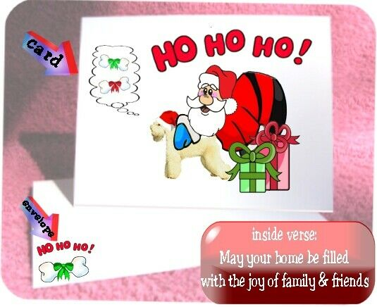 30 Wheaten Terrier Christmas cards & envelopes laser Santa Ho Ho Ho design