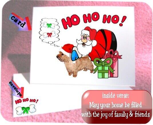 30 Norwich Terrier Christmas cards & envelopes laser Santa Ho Ho Ho design