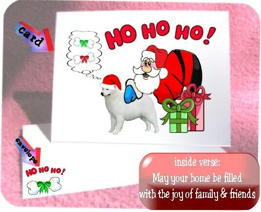 30 Samoyed Christmas cards & envelopes laser 60 pieces Santa Ho Ho Ho design