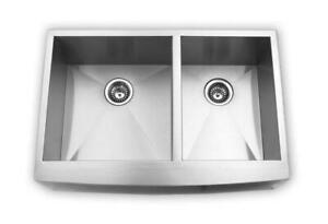 NEW - Brushed Nickel Apron Sink - 50/50 - Farmer Sink RADIUS 30x20 / 33x20 / 36x20