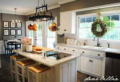 Gourmet Kitchen Island Rubbed Bronze 2 light ceiling storage pot rack w/10 hooks