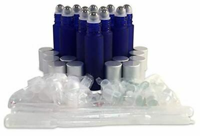 12 New, Premium Quality, 10ml Frosted Cobalt Blue Glass Roll-on Bottles with Sta