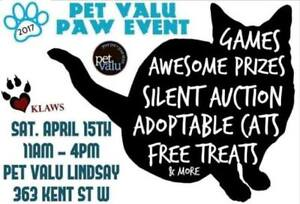KLAWS Adoptathon & Silent Auction Sat.April 15th in Lindsay!