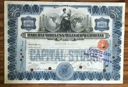 1913/1920 MARCONI WIRELESS TELEGRAPH COMPANY STOCK CERTIFICATE