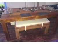 Dining Table Bench Set Wooden Wood Next