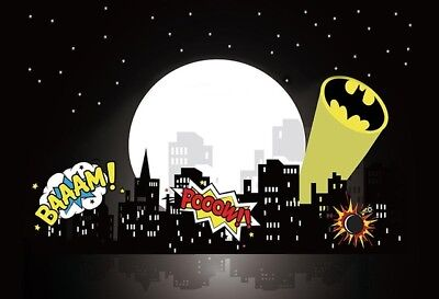 7x5ft super hero batman city skyline night full moon children party backdrop ](Full Moon Background)