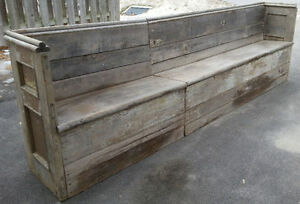 OLD ANTIQUE RUSTIC WOOD WOODEN BENCH PEW