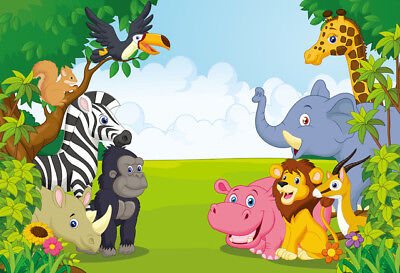 Jungle Safari Themed Animals Birthday Party Backdrops Photography Backgrounds