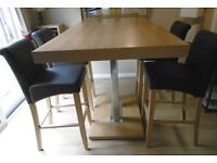Trinidad high dining/bar oak table and 4 Monte Carlo chair set