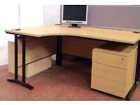 1600mm Curved Desk and Pedestal