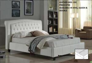 WHITE PLATFORM BED WITH TUFTED HEADBOARD ON SALE (IF29)