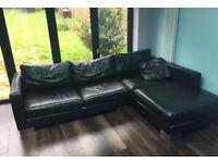 Black leather corner sofa can deliver