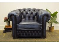 Vintage Leather Chesterfield Button Back Club/ Armchair