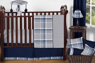 (Navy Gray Baby Boy Plaid Affordable Luxury Bumperless Nursery Crib Bedding Set)