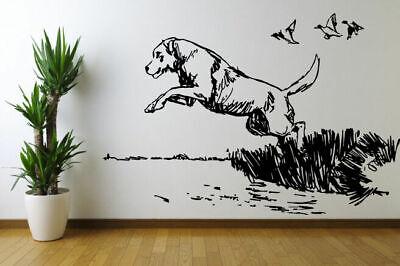 Wall Decal Sticker Bedroom Decor Dog Jump Hunting Ducks Nature Beautiful  bo2516