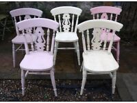 Set of 8 Shabby chic rustic mismatch vintage dining chairs with an antique finish