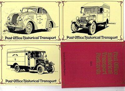 1982 HISTORICAL TRANSPORT SEPR 25 - 27 MINT POSTCARDS IN WALLET