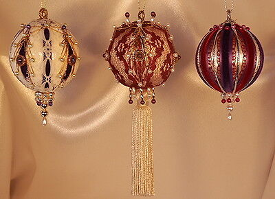 - Victorian Style Christmas Tree Ornaments - Purple and Burgundy Set of Three