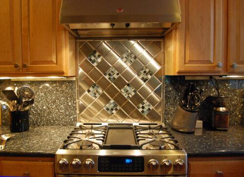 4x4 Stainless Steel Tiles $24.95/SF Kitchen Back Splash Tile 9-Tile
