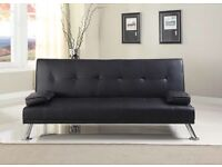Sofa bed, Faux Leather(Black)