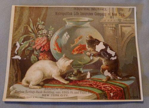 Original  Victorian New York Metropolitan Life Insurance Advertising Trade Card