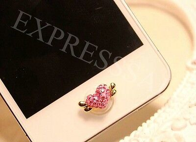 5X 3D Pink Angel Heart Bling Diamond Home Button Sticker For iPhone4s,5th,6th,7
