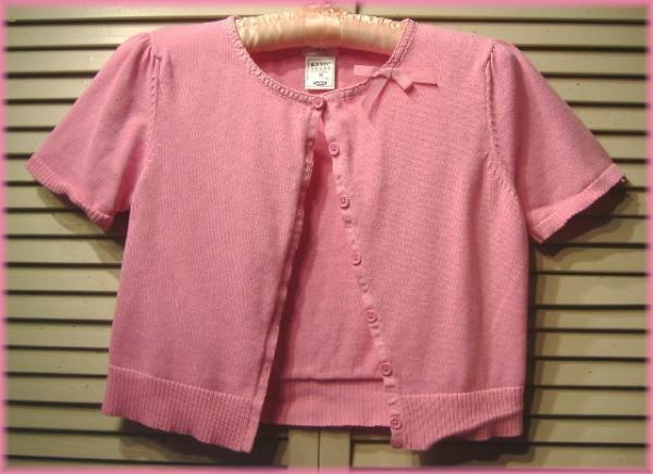 "OLD NAVY Pink Cardigan Sweater Top (M) Cropped Cotton Tiny Fit 34""-36"" bust"