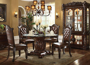 5pc ellery traditional cherry finish wood round glass dining table set