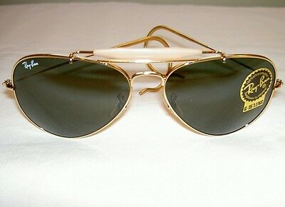 New RAY BAN Sunglasses AVIATOR  OUTDOORSMAN Gold  RB 3030 L0216  G-15 Glass Lens