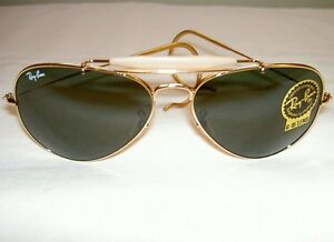 ray ban golden glass  new ray ban sunglasses aviator outdoorsman gold rb 3030 l0216 g 15 glass lens
