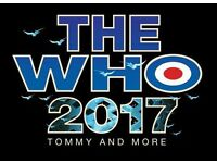 2 X FRONT ROW The Who Tour tickets.