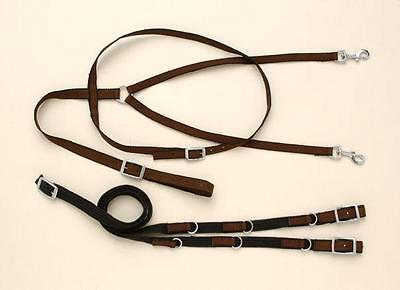 Performers 1st Choice Nylon German Martingale Reins Set Training Aid Horse Brown