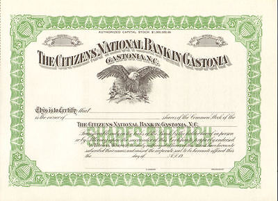Citizens National Bank > Gastonia NC stock certificate