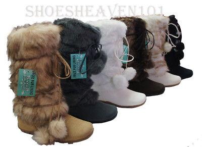 Women's Mid-calf Faux Fur Suede Pom Pom Eskimo Winter Snow Flat Boots - Eskimo Faux Fur