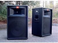 JBL TR125 PA Speakers. Pair of really cool looking & sounding speakers. Ideal for band or DJ.