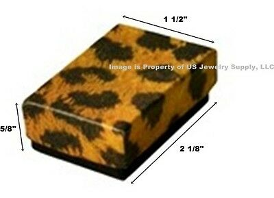 100 Small Leopard Print Cotton Fill Jewelry Gift Boxes 2 18 X 1 12 X 58