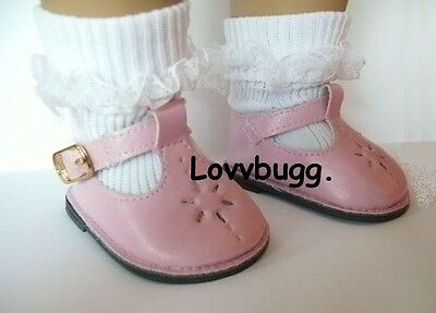 "Lovvbugg  Pink T-Strap Flower Mary Janes for 18"" American Girl or Bitty Baby Doll Shoes Clothes"
